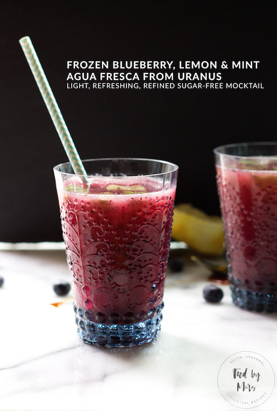 Frozen Blueberry, Lemon & Mint Agua Fresca inspired by Uranus (light, refreshing and refined sugar-free mocktail, no alcohol) via Food by Mars