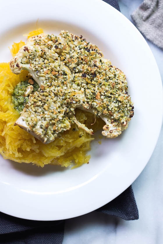 Hemp & Pistachio Crusted Cauliflower Steaks (vegan, gluten-free, grain-free, dairy-free and EASY for a main vegetarian meal) via Food by Mars