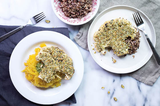Sides shown: (LEFT) Spaghetti Squash with Pesto; (RIGHT) Brown Rice