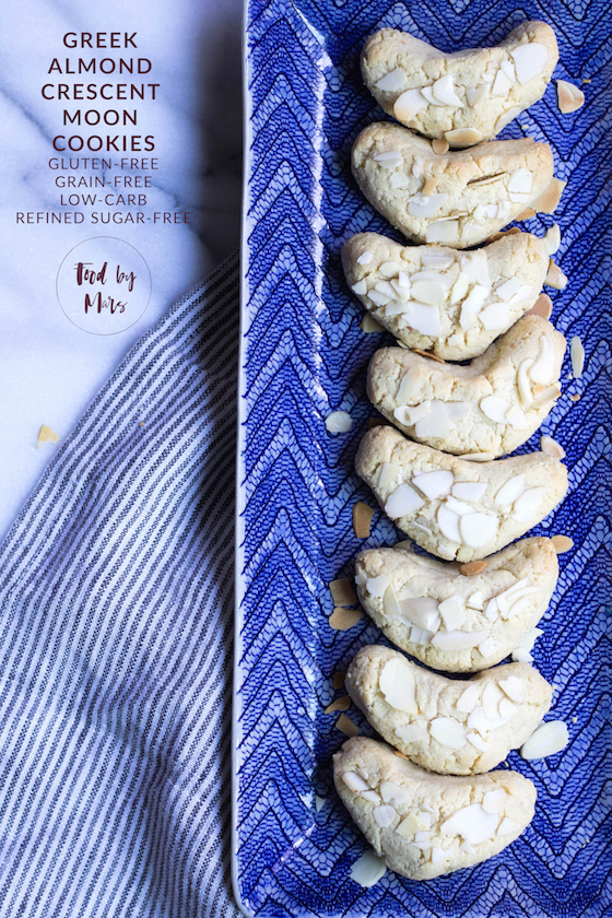Grain-free Greek Almond Crescent Moon Cookies (Gluten-free, Low-carb, Refined Sugar-free)