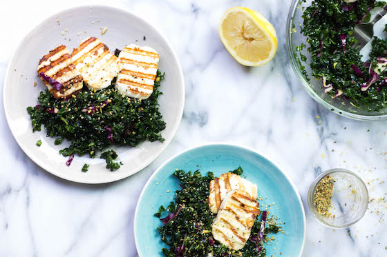Simple Grilled Haloumi Kale Salad (gluten-free, grain-free, low-carb) via Food by Mars