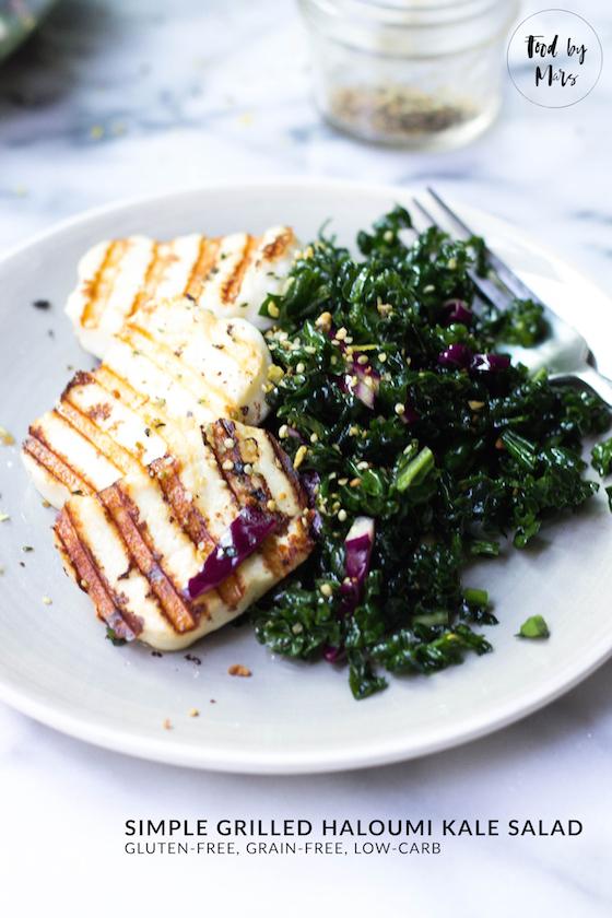 Simple Grilled Haloumi Kale Salad (gluten-free, grain-free, low-carb)