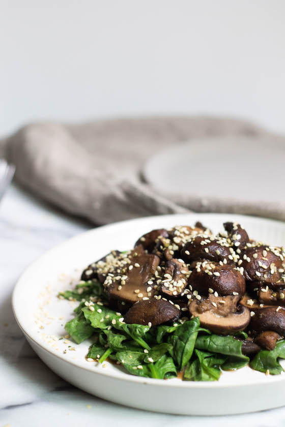 Magic Ginger Mushrooms & Spinach (gluten-free, soy-free, vegan) via Food by Mars
