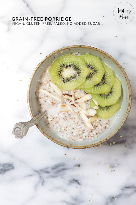 Grain-free Porridge (vegan, gluten-free, paleo, no sugar, IQS, anti-inflammatory) - super easy to make either overnight or in just a few minutes via Food by Mars