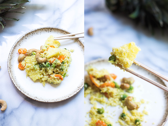 Pineapple Fried Cauliflower Rice (grain-free, gluten-free, vegan, paleo, low-carb) via Food by Mars - an easy batch recipe, perfect for meal prep and perfectly delicious and healthy!