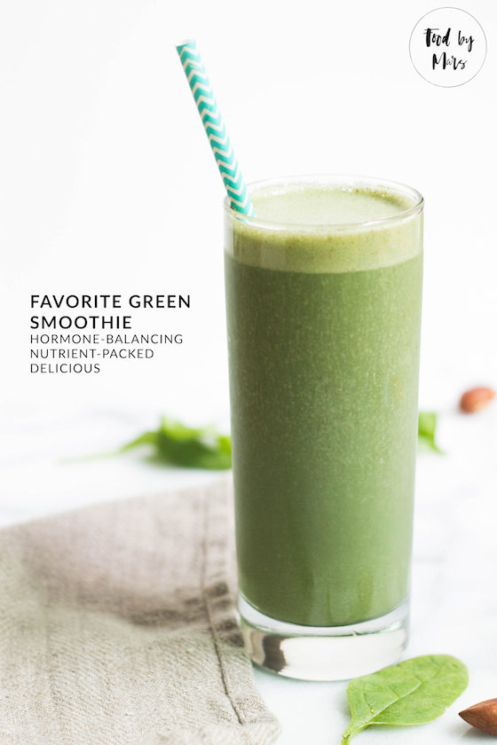 Favorite Green Smoothie with Maca & Spirulina - naturally energizing and hormone balancing via Food by Mars