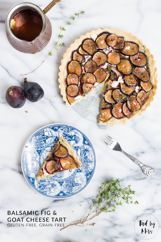 Balsamic Fig & Goat Cheese Tart (Gluten-free, Grain-free, Paleo) via Food by Mars
