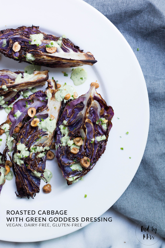 Roasted Cabbage with Vegan Green Goddess Dressing (vegan, dairy-free, gluten-free, grain-free, paleo) via Food by Mars