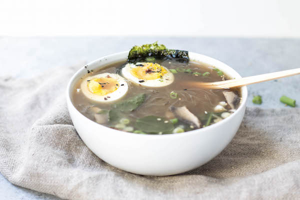 Weeknight Paleo Bone Broth Ramen (easy, soy-free, paleo, gluten-free, grain-free) with Shirataki noodles via Food by Mars