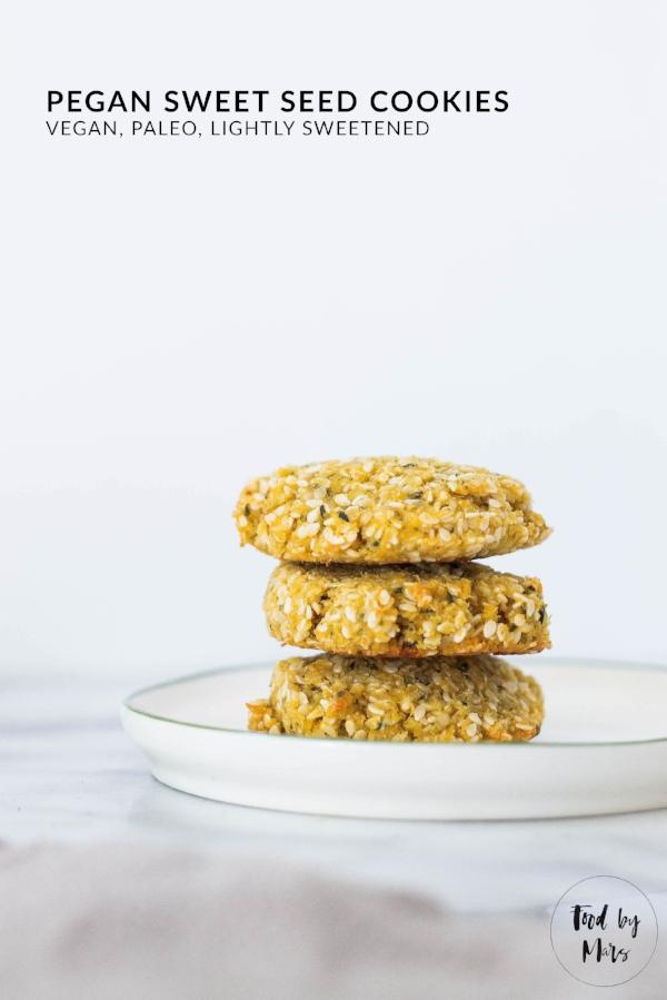 Pegan Sweet Seed Cookies (paleo, vegan, lightly sweetened) via Food by Mars