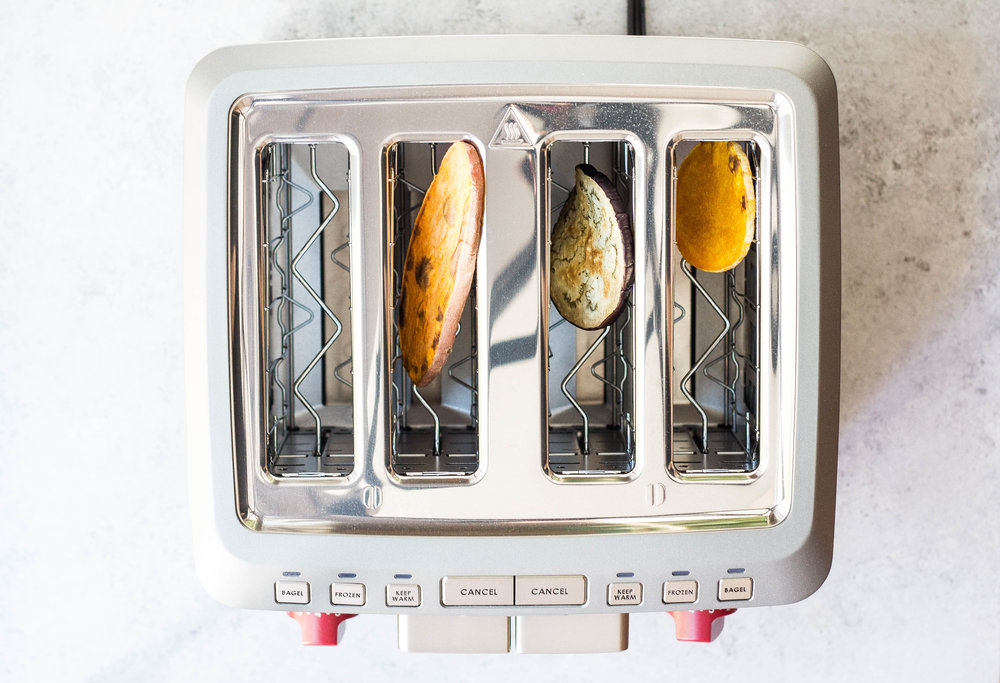 Gluten-free Toast Swaps (Sweet Potato, Eggplant, Butternut Squash) via Food by Mars using veggies in the toaster!