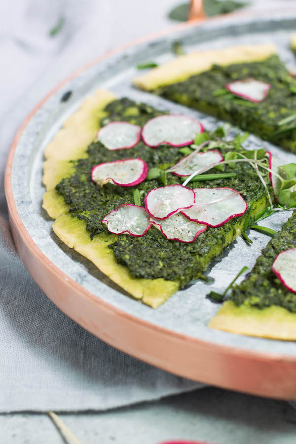 Paleo Spring Pesto Flatbread (AIP, low FODMAP, gluten-free, vegetarian) made with Cassava flour via Food by Mars
