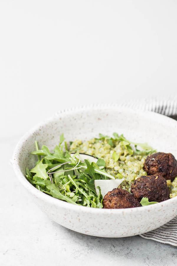 Easy Meatballs & Grain-free Pesto Risotto (AIP, Paleo, Low FODMAP friendly) via Food by Mars