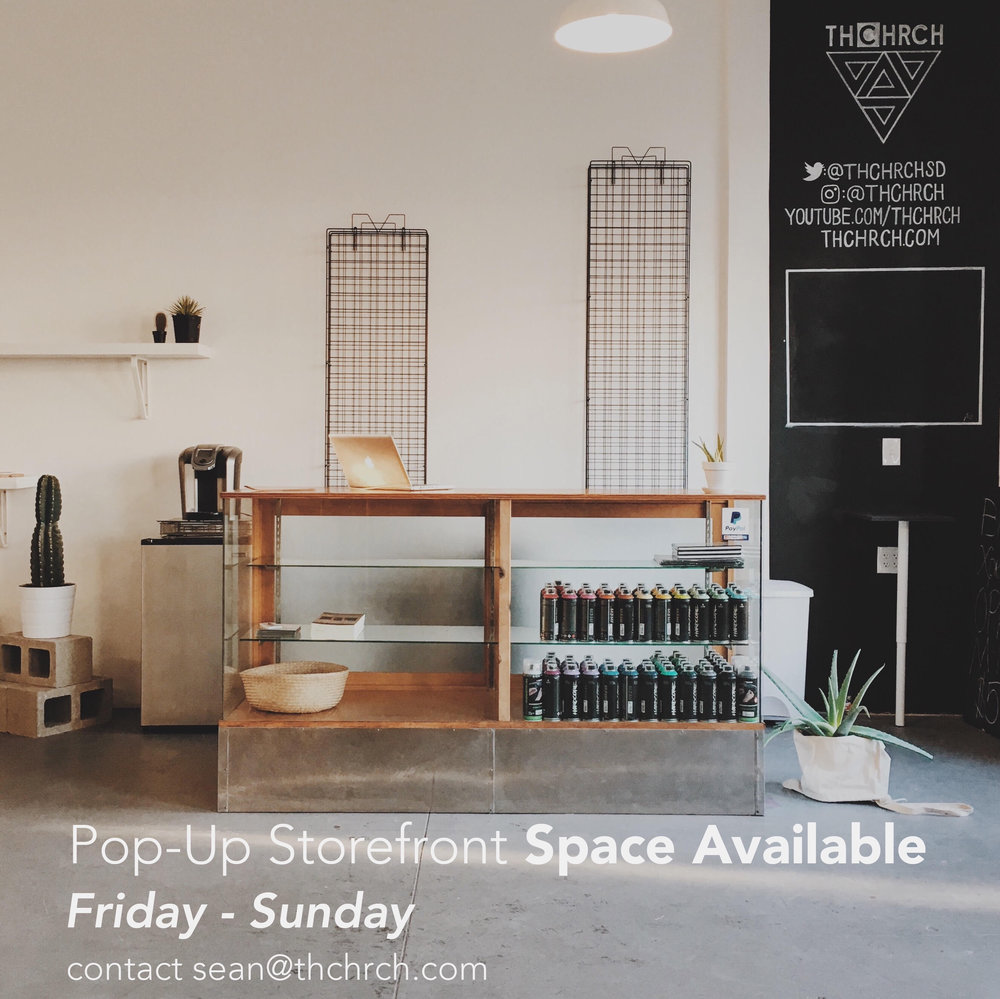 Pop-Up Storefront Available Weekends (Weekdays/Events Negotiable) $400 - 3 day weekend Pop-Up $200 - 1 Day | Inquire with ideas
