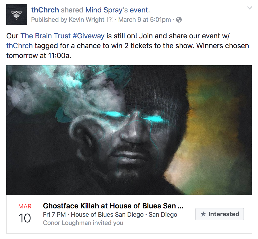 Facebook -ticket links / promo contests