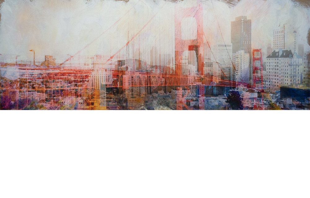 """""""SF""""   Commissioned 2014 San Francisco Airport Terminal 3  90.5""""x32"""" acrylic, enamel, pigment ink on wood panel"""