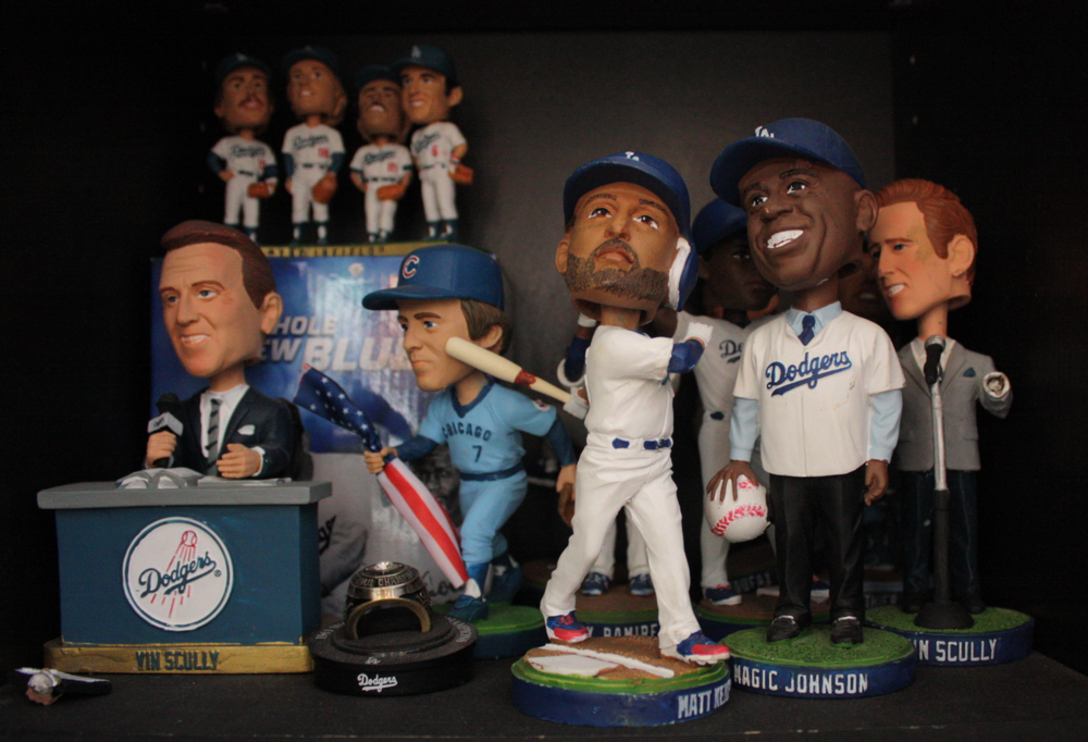 Jill's extensive Dodger Bobble head collection.