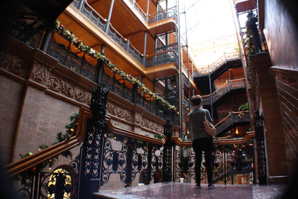 PHOTOS FROM THE  BRADBURY BUILDING  IN DOWNTOWN LOS ANGELES.