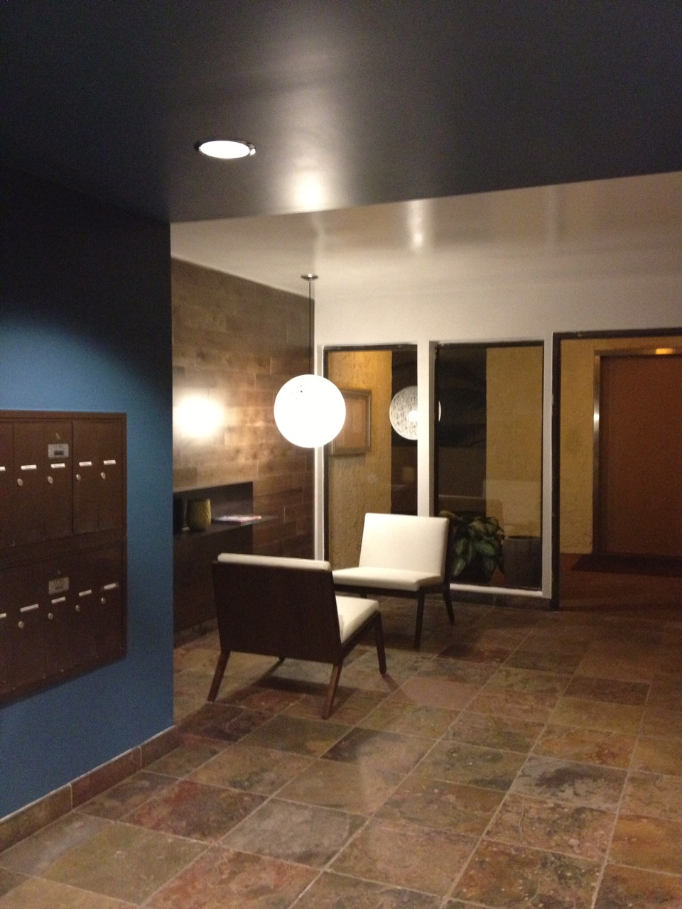 The finished lobby that Michael designed for his condo complex.