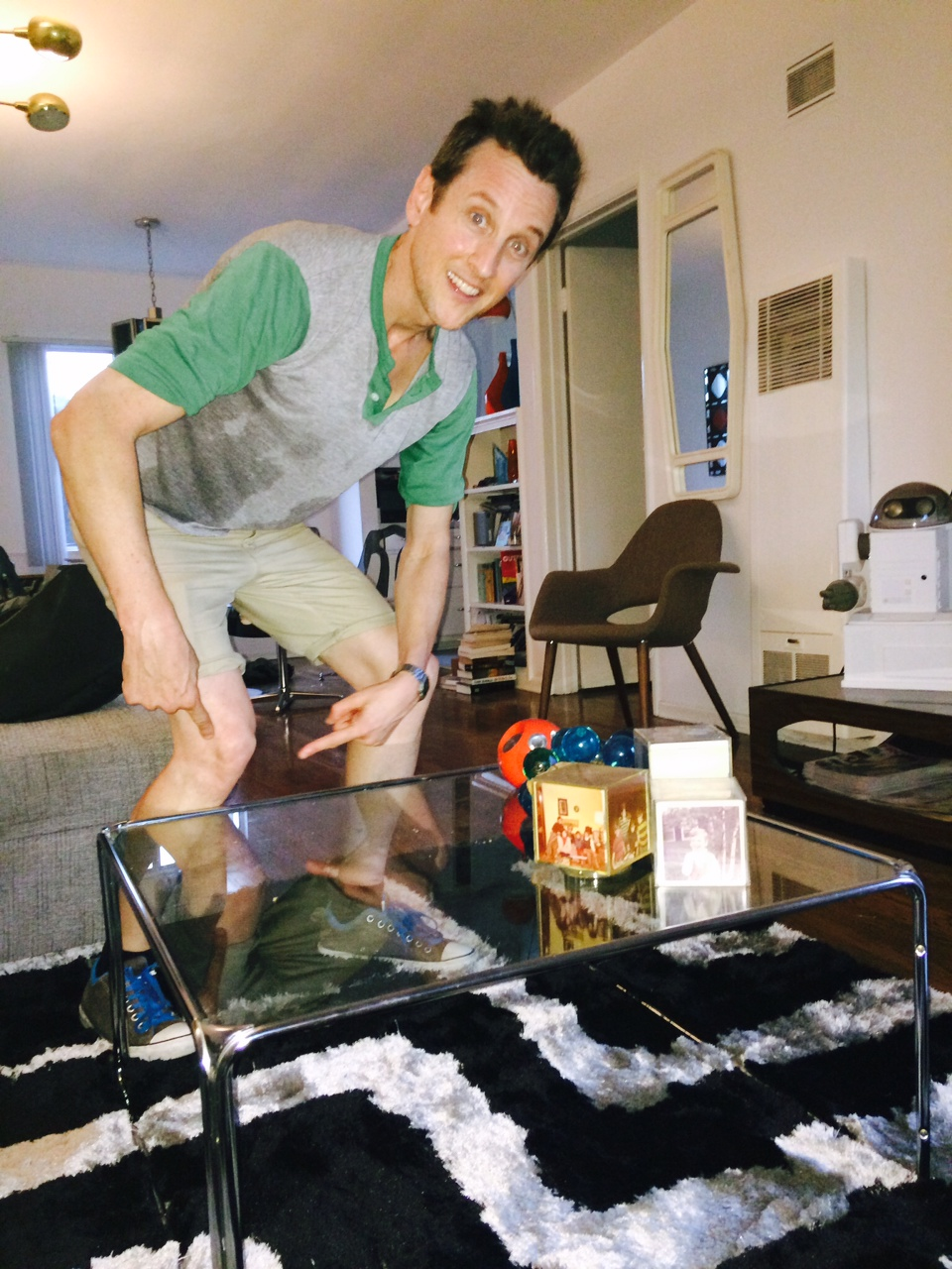 The coffee table from the movie that Liv Tyler bumps her knee on.  jack's not sweating over his movie opening.  He's sweating because it's hot as balls in LA this week!