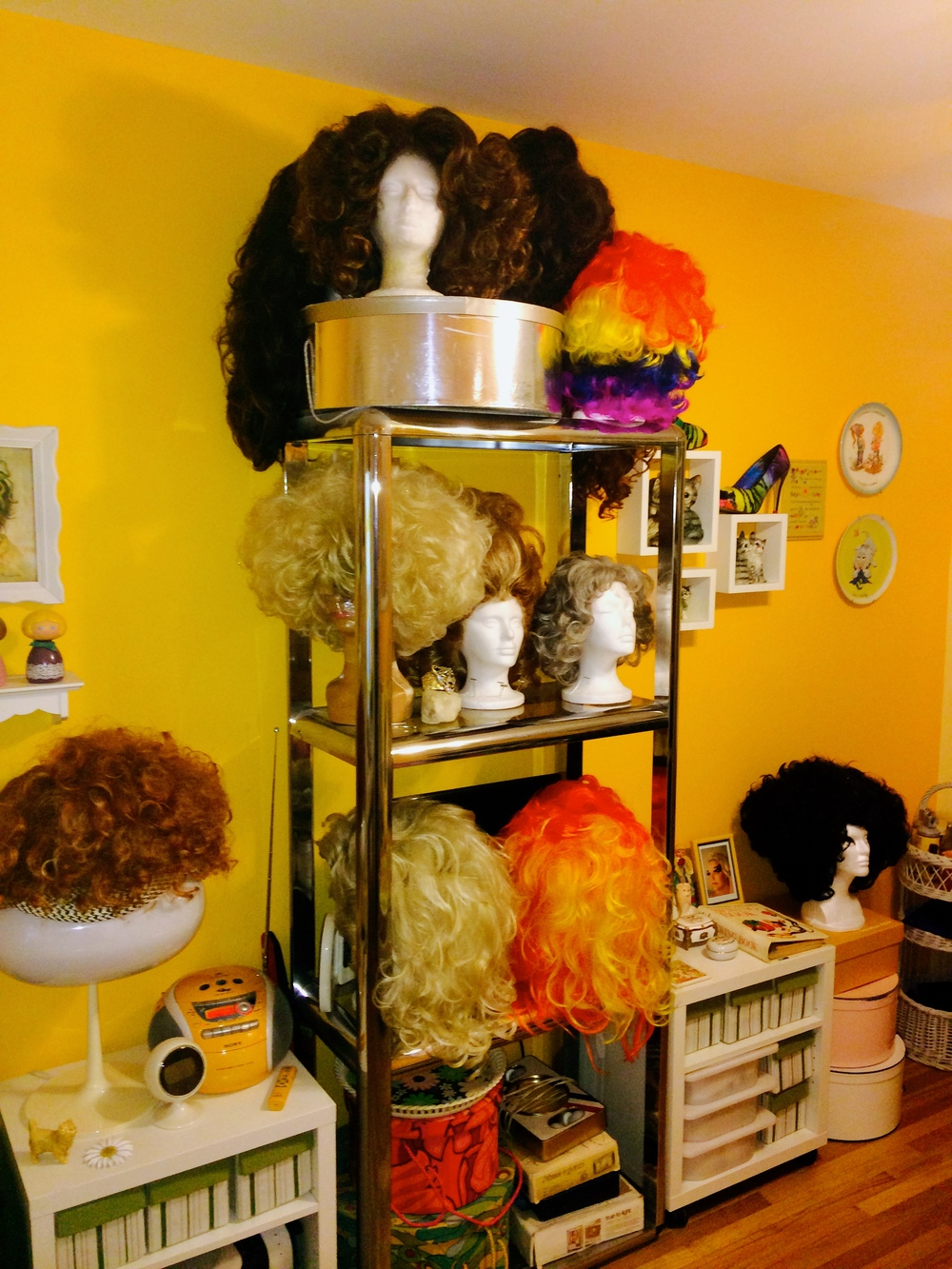 "Some of Jackie's wigs.  I said to Jackie, ""You're so organized.""  ""You have to be,"" was Jackie's reply."