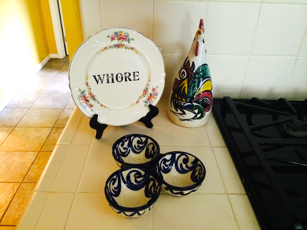 The Whore plate in Coco Peru's kitchen.