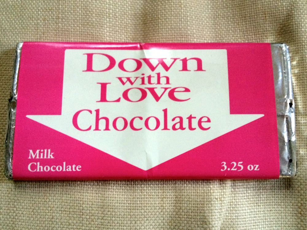 A chocolate bar prop from  Down with Love