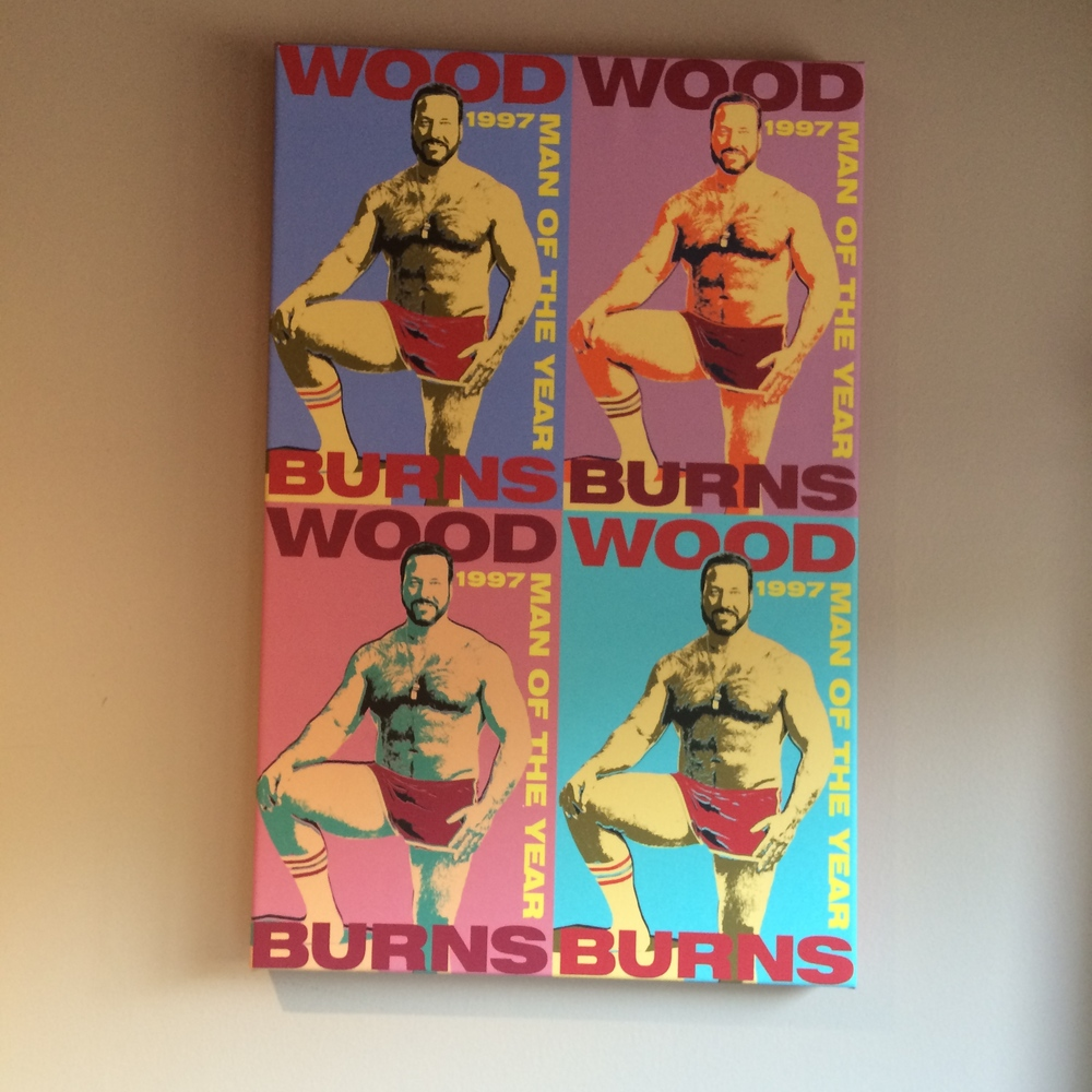Two cools For the Bears Are mementos: an awesome feature in the L.A. Times (left) and a Warhol-style piece of art inspired by Dietl's former porn star alter ego Wood.