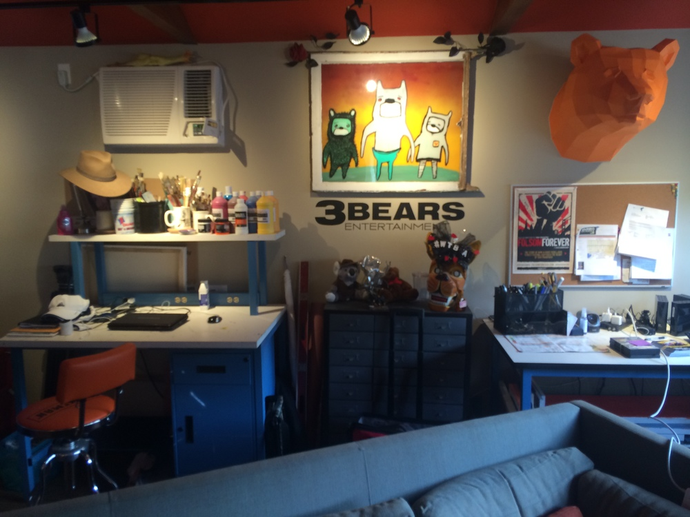 "The garage turned office where all the ""Where the Bears Are"" magic emanates from."
