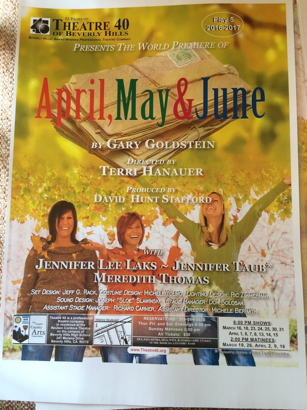 "The poster art for Gary's play ""April, May and June"""
