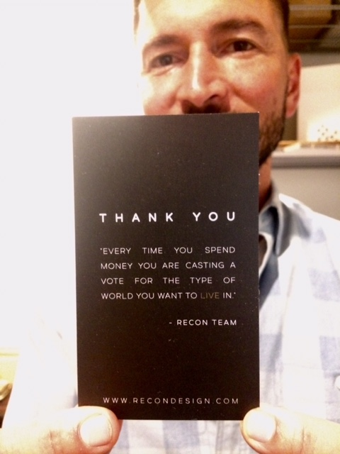Shawn with the thank you note that goes in each package.