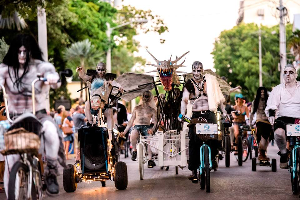 Key West's Zombie Bike Ride (Cody is the second from the left on the horse tricycle)