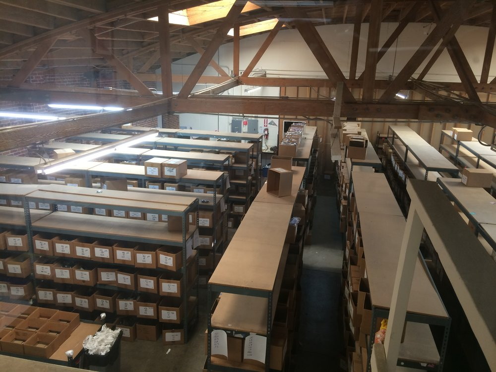 The view from Andrew's office into the N2N warehouse.