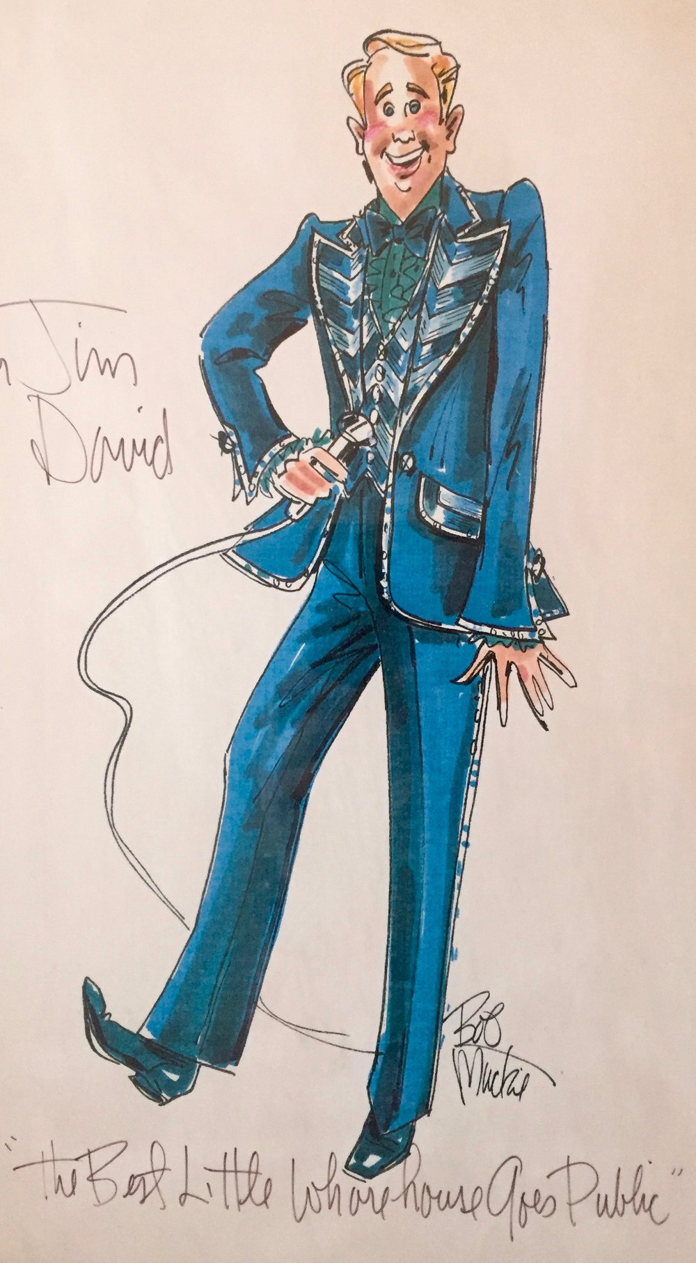 "The Bob Mackie sketch of Jim in costume for ""The Best Little Whorehouse Goes Public"""