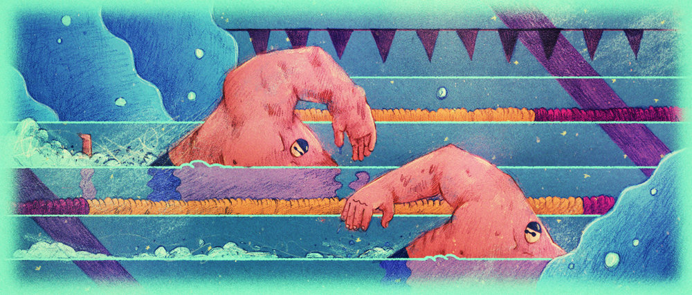 """FREESTYLE SWIMMERS""//Personal Illustration."