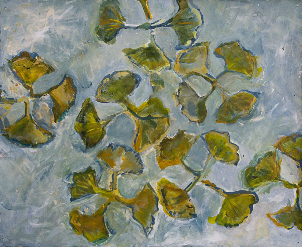 """Gingko, 4 Leaves"" acrylic, graphite, chalk, oil stick."