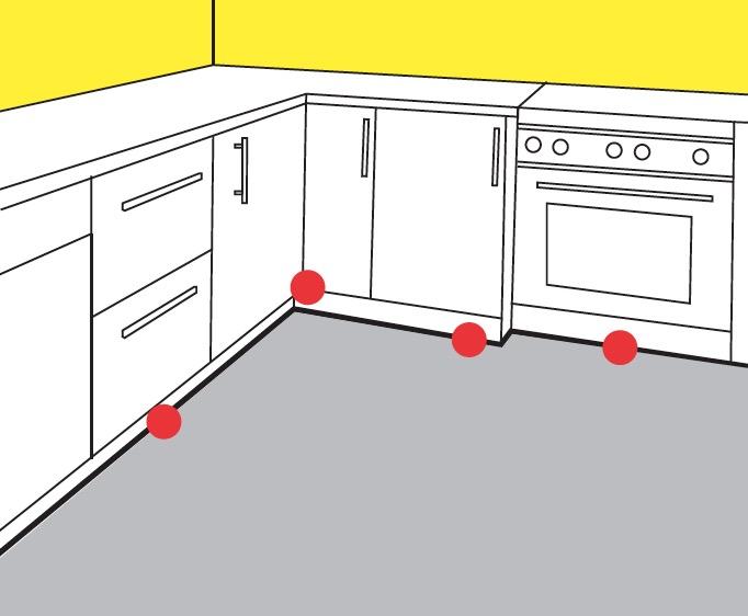 Cockroach gel placement in kitchen