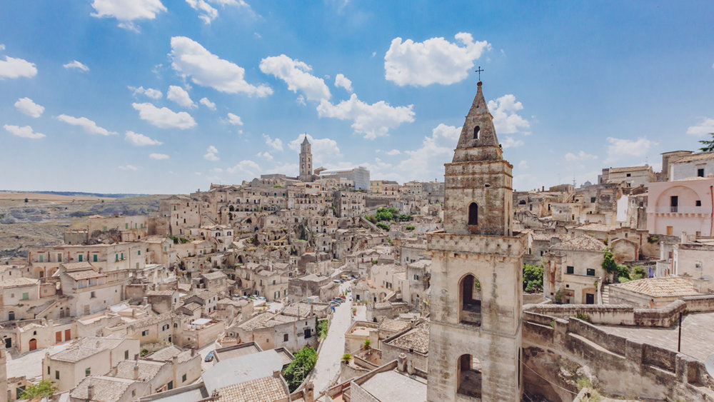 View of the sassi of Matera, Italy