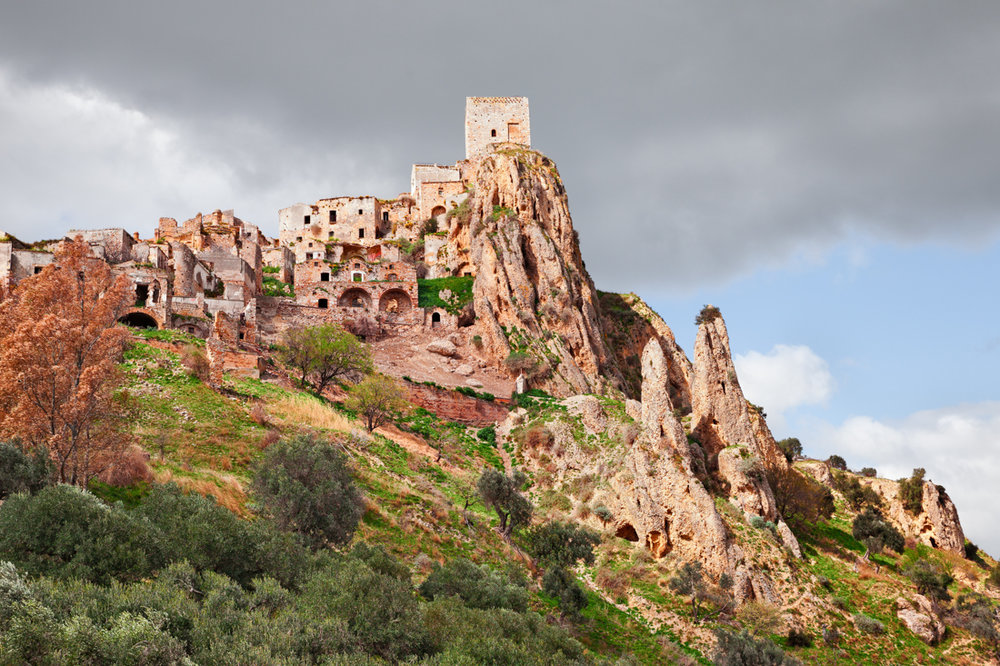 Craco, Matera, Basilicata, Italy: view of the ghost town