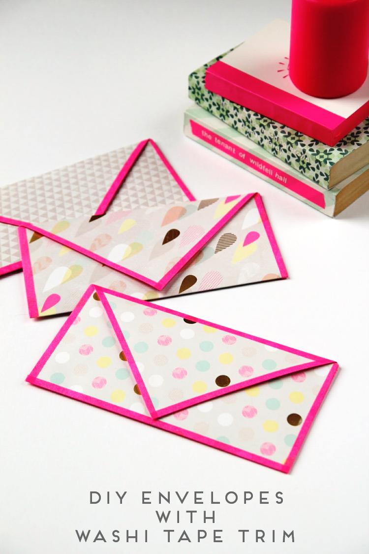Make It Monday - Diy Folded Envelopes With Washi Tape Trim.