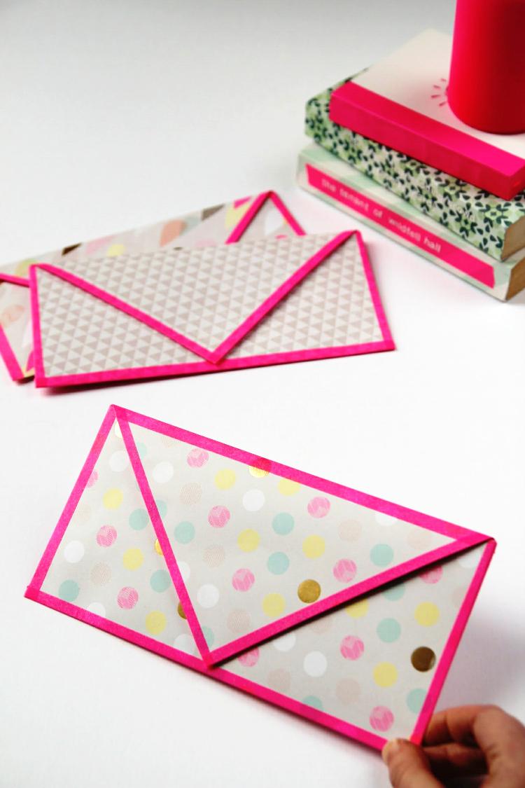 Diy Folded Envelopes With Washi Tape Trim in under 10 minutes