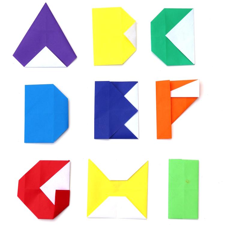 Origami schriftzeichen. Origami-band gefaltet oberkörper alphabet ...   750x750