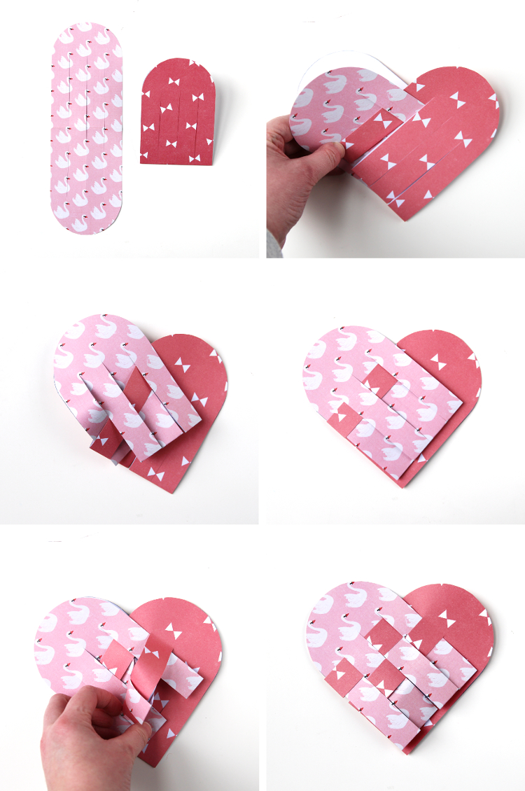 Diy Woven Paper Heart Valentines With Free Template Gathering