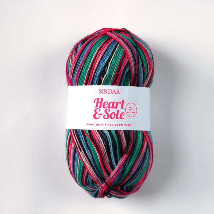 Sidar Heart & Sole 4 ply sock yarn in Twist and Shout.