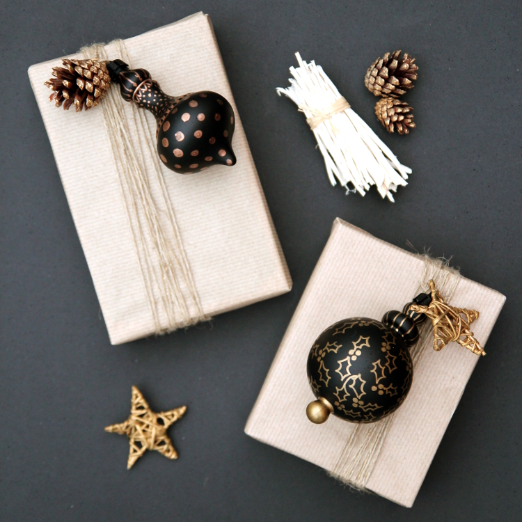 DIY DECORATED ORNAMENT GIFT TOPPERS