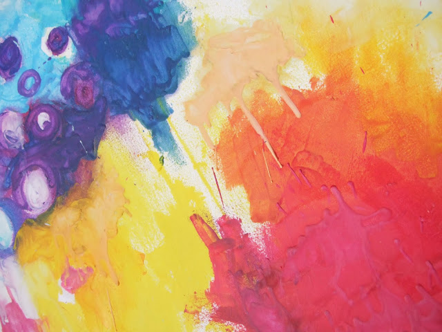 Close-up of abstract art painted with melted crayons - Gathering Beauty
