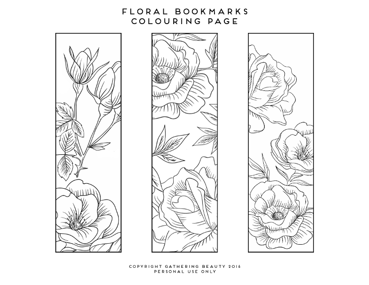 PRINTABLE FLORAL COLOURING PAGE BOOKMARKS