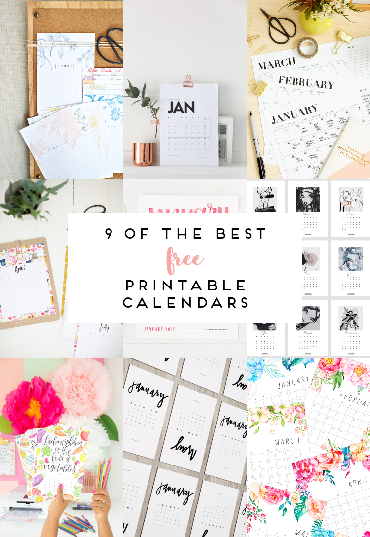 image about Www.printablecalendars.com � Www.freeprintable.net named 9 OF THE Suitable Free of charge PRINTABLE CALENDARS 2017. Amassing Elegance