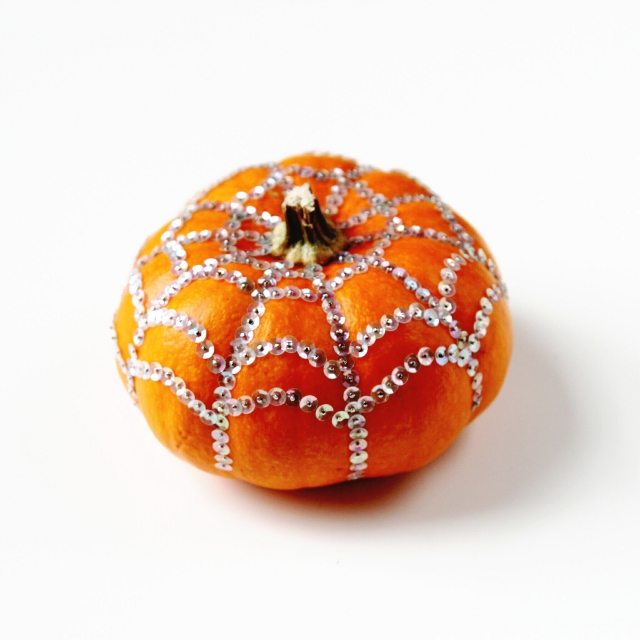 Diy Sequin Spider Web Pumpkin
