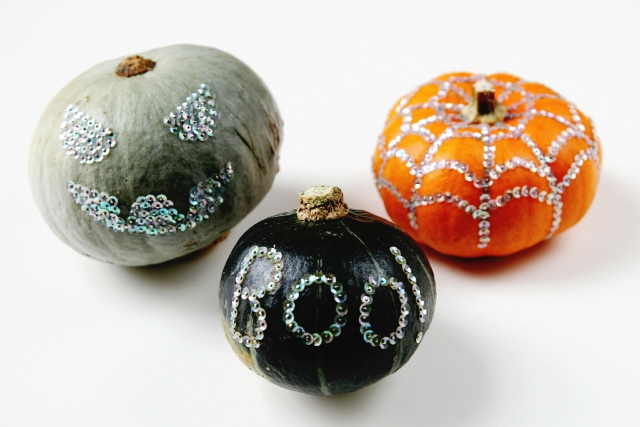 Diy Sequin Decorated Pumpkins